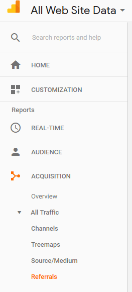 Referrals in Google Analytics