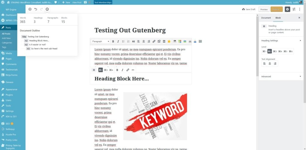 Gutenberg Content Structure Headings