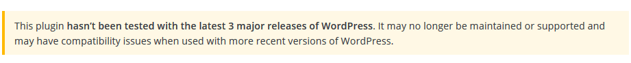 WordPress plugin not up to date warning!