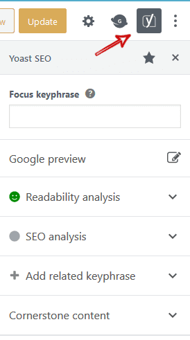 Yoast SEO Tabs in WordPress Right Sidebar