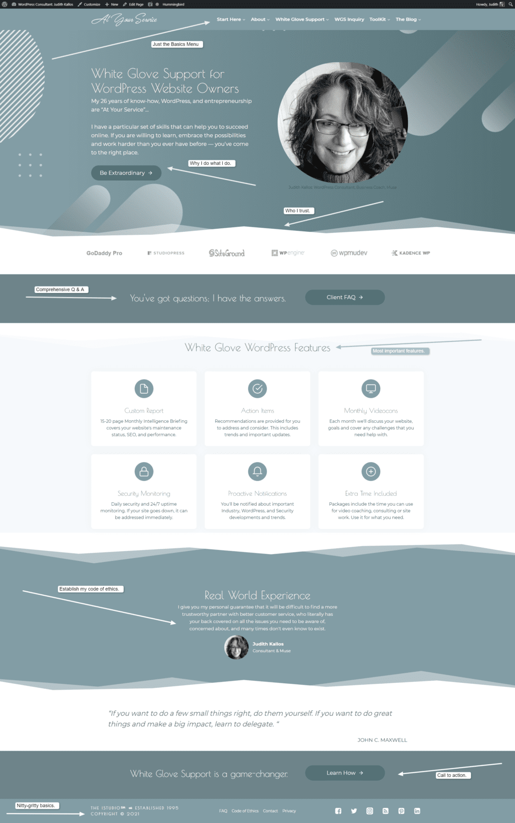 Annotated Home Page of WordPress Consultant and Coach
